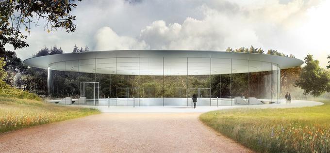 Situé sous un cylindre de verre, le Steve Jobs Theater est une salle de conférence située sous l'Apple Park.