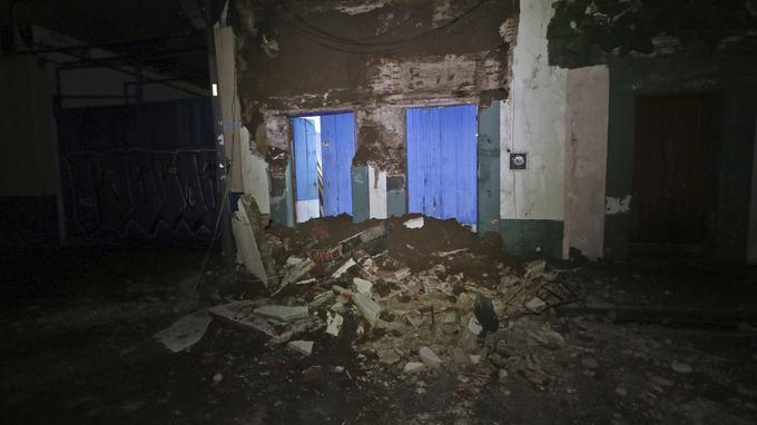 Un mur s'est effondré à Oaxaca pendant le séisme.