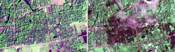 Sur les images prises par satellite le 2 septembre, au moins 450 bâtiments apparaissent entièrement brûlés dans la ville de Maungdaw, où 80% des habitants sont rohingyas.