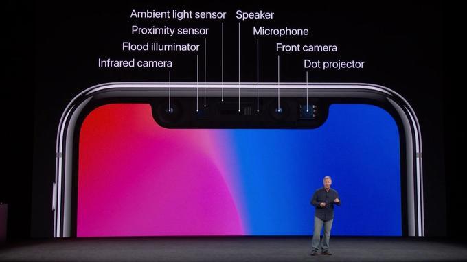 L'iPhone X adopte trois capteurs inédits dans un smartphone pour la reconnaissance faciale. (Apple)