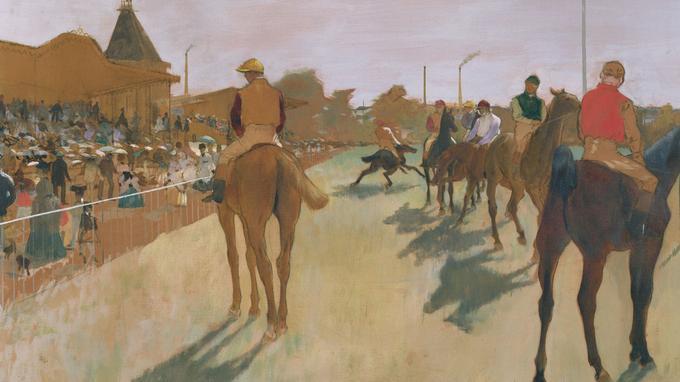 «Le défilé», dit aussi «Chevaux de courses devant les tribunes», Edgar Degas vers 1866-1868. Musée d'Orsay.