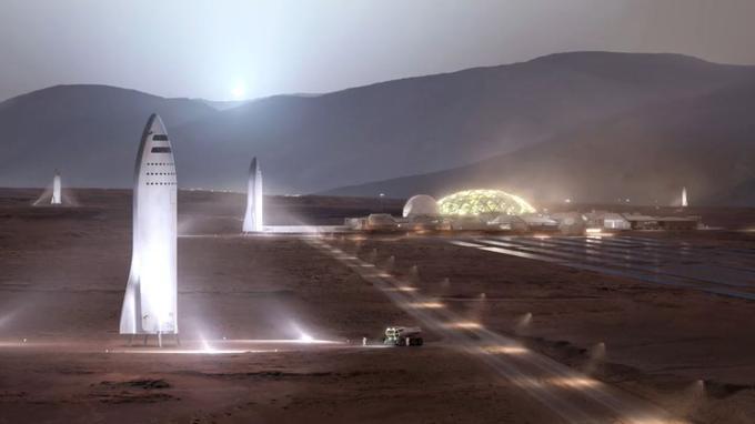 Vue d'artiste de vaisseaux BFR de SpaceX posés sur Mars.
