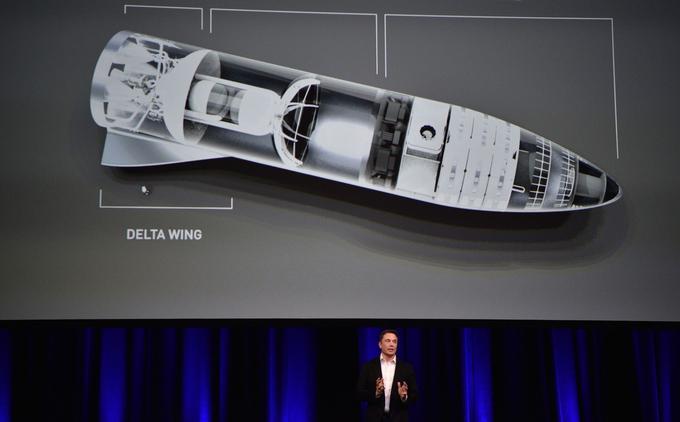 Elon Musk devant un plan du vaisseau qui serait emporté par le lanceur BFR.