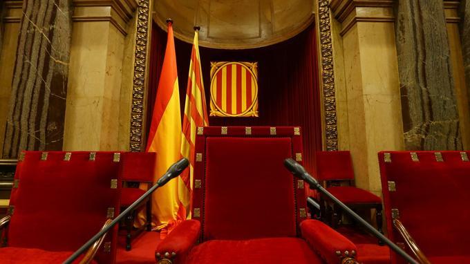 La chambre de l'assemblée régionale de Catalogne, la veille de la séance où l'Espagne s'attend à ce que Carles Puigdemont déclare l'indépendance.