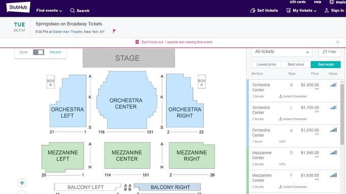 Capture d'écran du site StubHub spécialisé dans les reventes de tickets.