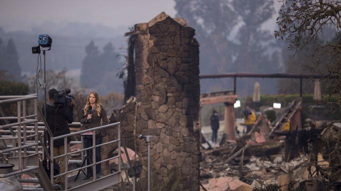 Les médias se sont déplacés sur place. Ici près de Napa, en Californie.