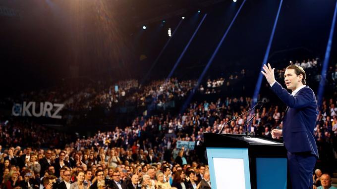 Sebastian Kurz, lors d'un meeting fin septembre à Vienne.