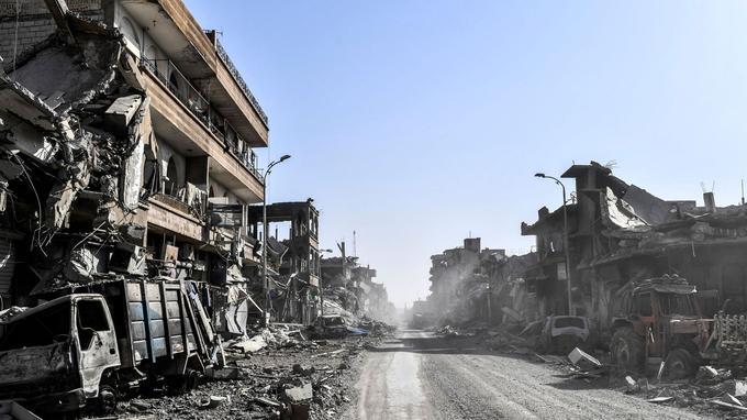 Une rue déserte de Raqqa, le 20 octobre.