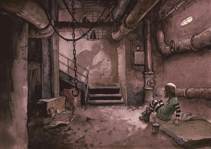 La première planche de l'album met en scène la jeune Alina, enfermée dans une cave. Arrive l'ombre menaçante du Joker. Elle se cabre, apeurée. Une mise en situation instantanée pour le lecteur.
