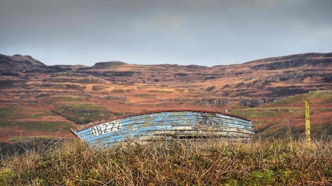 Une barque abandonnée, sur l'île d'Ulva.