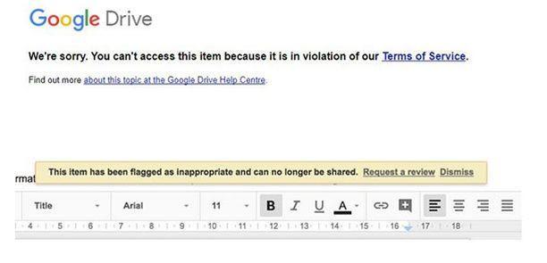 Le message d'avertissement reçu par certains utilisateurs de Google Docs, mardi 31 octobre.