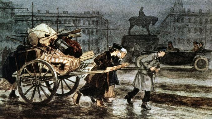 Famille de Petrograd fuyant lors de la Révolution d'octobre de 1917.