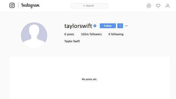 Capture d'écran prise par le journal anglais <i>Mirror</i> le jour du «shutdown» du compte Instagram de Taylor Swift.