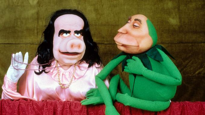 Marchie (Georges Marchais) et Kermitterrand (François Mitterrand) dans le Bébête Show.