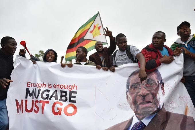 Des manifestants samedi 18 novembre brandissent une banderole dont le slogan signifie «Trop c'est trop, Mugabe doit partir».