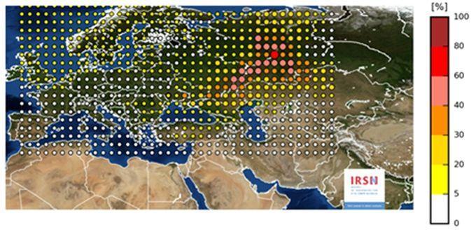 Cette carte a été diffusée par l'IRSN au début du mois de novembre synthétisant les résultats des simulations réalisée par l'IRSN et a permis d'établir que la zone de rejet la plus plausible se situait entre la Volga et l'Oural.