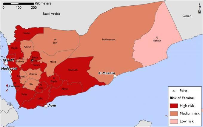 Le risque de famine selon les régions au Yémen. <i>Infographie Acted.</i>