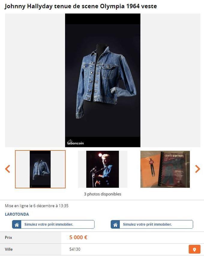 Cette veste portée par Johnny Hallyday à l'Olympia est vendue 5.000 euros sur leboncoin (capture d'écran).