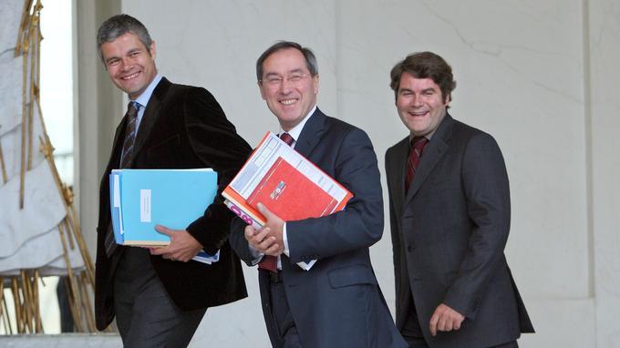 En 2007, avec Claude Guéant, secrétaire général de l'Élysée et Franck Louvrier, le communicant de Nicolas Sarkozy.