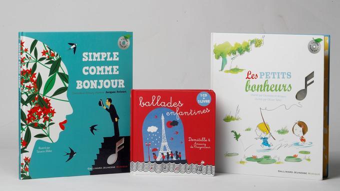 Les trois livres-CD, «allades enfantines» (Naïve), «Les Petits Bonheurs» et «Simple comme Bonjour» (Gallimard jeunesse musique) ont en commun des textes fabuleux mis en musique grâce à la complicité et la bonne humeur de Domitille et Amaury.