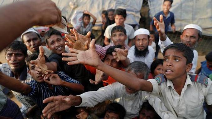 Des réfugiés Rohingyas dans un camp au Bangladesh.