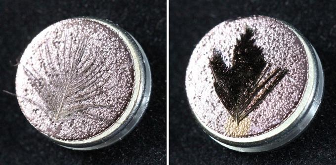 Même recouverte d'or (à droite), la plume «super-noire» conserve sa couleur, contrairement à une plume classique (à gauche).