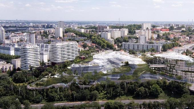 Niché entre l'A6 et l'A6B, les 65.000 m2 de l'«Ecotone» à Arcueil allie verre et murs végétalisés.