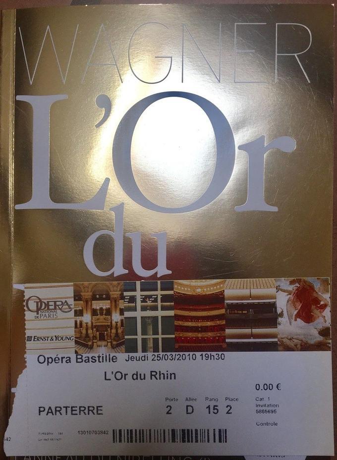 Ci-dessus, le billet d'Ariane Fornia pour le fameux Wagner du 25 mars 2010. Un document obtenu par <i>Le Figaro</i>.