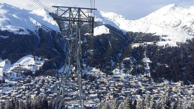 Davos-Platz vu du téléphérique du Jakobshorn.