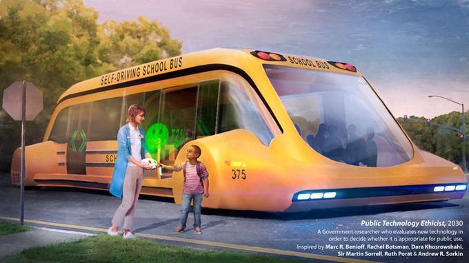 Un bus scolaire automatisé à l'aube des années 2030.