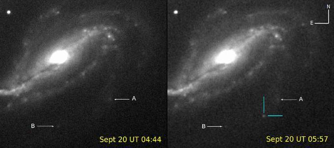 La supernova est apparue sur la deuxième image prise par Victor Buso, à droite, ici encadrée par deux traits bleus.