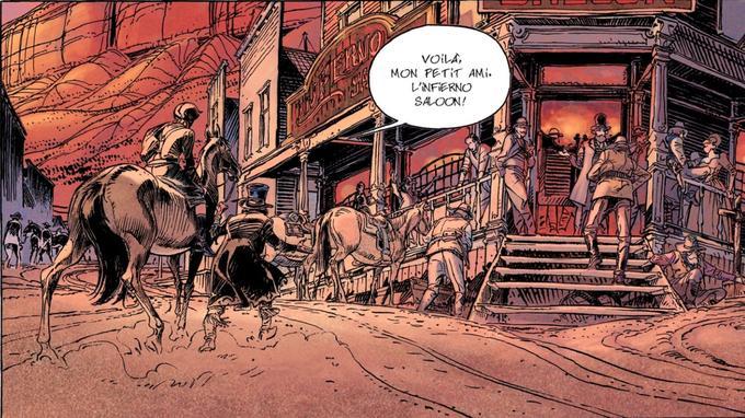 Cette case tirée de la 32e planche du premier volume de la saga du <i>Bouncer</i>est un clin d'œil appuyé aux films de Western.