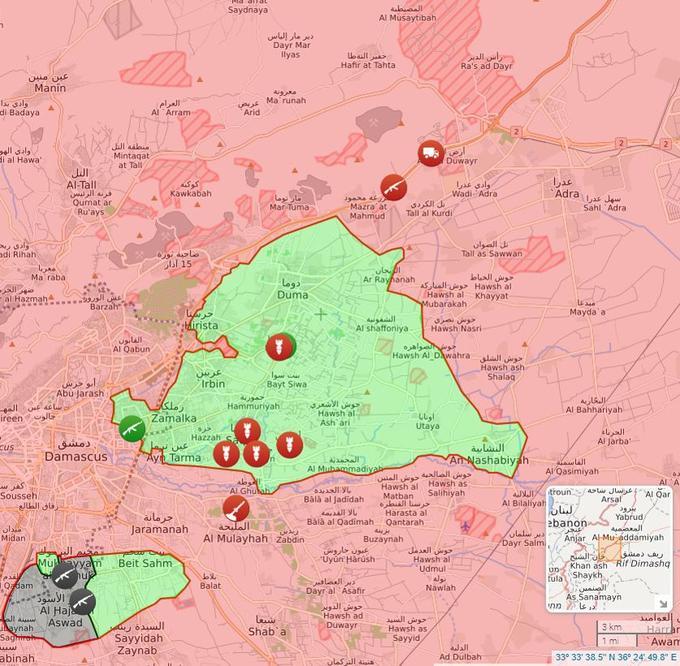 Situation le 18 février lors du début de l'offensive du régime (en rouge, le régime/en vert, les rebelles/en gris, Daech).