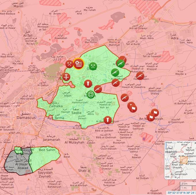 Situation ce dimanche 4 mars, en début d'après-midi (en rouge, le régime/en vert, les rebelles/en gris, Daech).