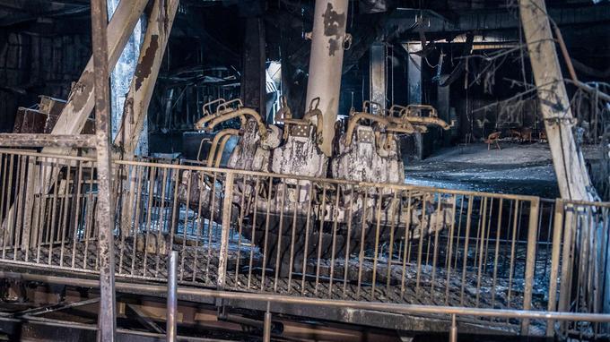 Cette aire d'attraction situé à l'intérieur su centre commercial a été totalement détruite par l'incendie.