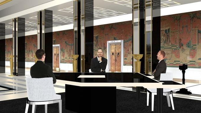 Le plateau de l'interview qui se déroulera au Palais de Chaillot.