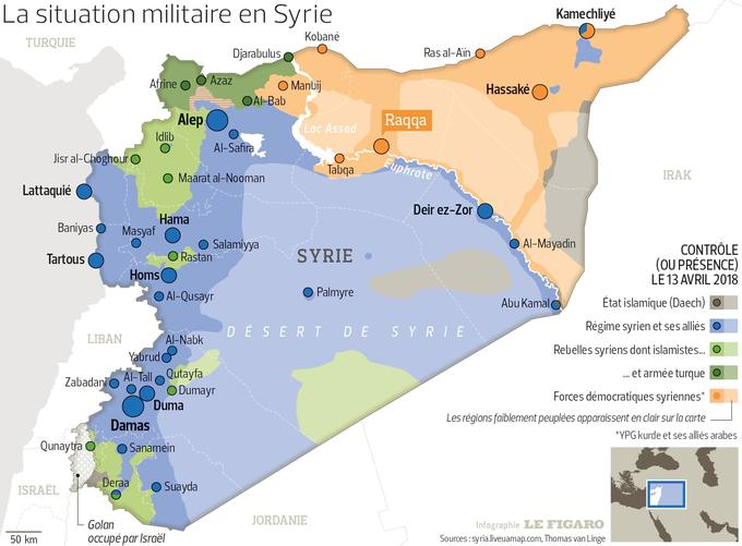 Situation militaire en Syrie le 13 avril 2018