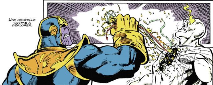 Cette case, tirée de la 151e planche du recueil <i>Le Défi de Thanos </i>est l'une des morts les plus tragiques de toute la saga du gant de l'Infini. Avec la mise en scène de Rom Lim et le scénario de Jim Starlin.