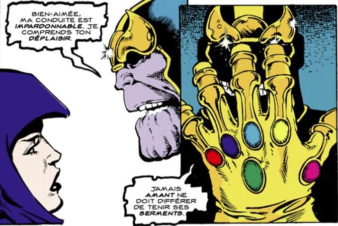 Thanos est l'amat de la Mort et a choisi de mettre à son service les pouvoirs des six gemmes de l'infini.