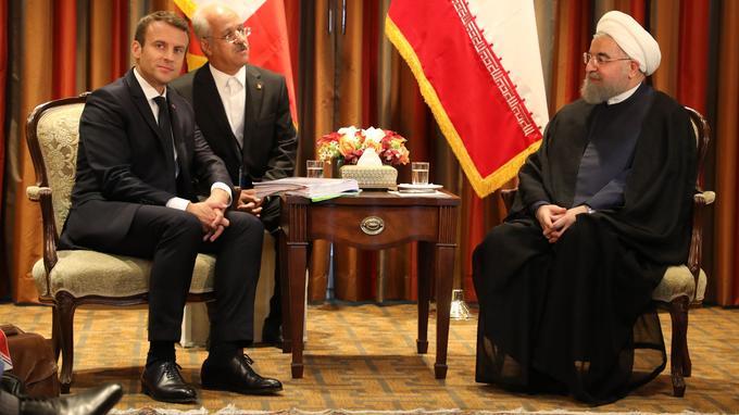 Emmanuel Macron rencontre son homologue iranien Hassan Rohani, le 18 septembre 2017 à New York.