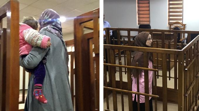 Melina Boughedir et Djamilia Boutoutaou à la cour d'appel fédérale de Bagdad. // AFP