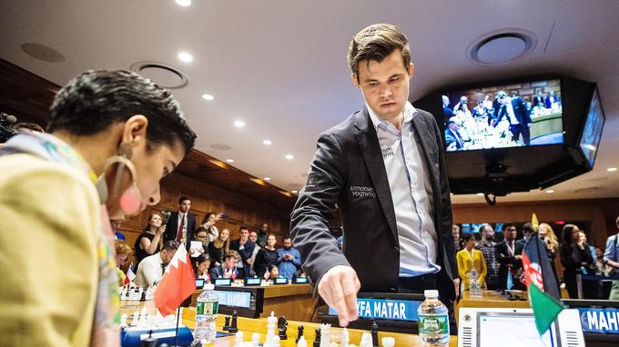 Magnus Carlsen, chamion du monde d'échecs, à l'ONU le 10 mai 2018 (Joel Marklund/Bildbyran/Icon Sport).