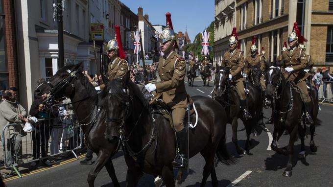 La cavalerie lors de la répétition du trajet du cortège
