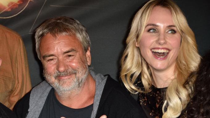 Luc Besson et Sand van Roy à la première de «Taxi 5», le 8 avril dernier à Paris.