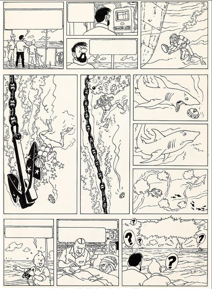 La planche 58 est un modèle du genre en termes d'action et de conception graphique avec ses douze cases de tailles inégales. Hergé s'amuse à verticaliser l'action, puis à l'horizontaliser.