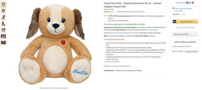 Lors de la rédaction de cet article, la peluche Cloud Pets chien est toujours en vente sur le site Amazon français.
