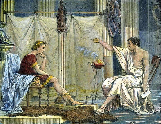 Gravure du XIXe siècle: le philosophe grec Aristote (384-322 avant notre ère) enseignant au jeune Alexandre le Grand (356-323 avant notre ère)