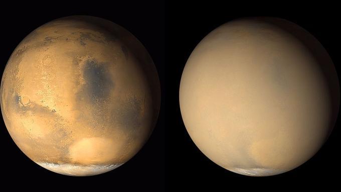 En 2001, à deux mois d'écart, une tempête de sable avait recouvert toute la planète rouge (à droite).