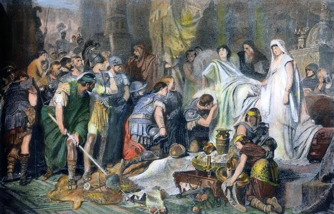 Cette gravure figure la mort d'Alexandre Le Grand. Le roi décède à Babylone en 323 avant notre ère.