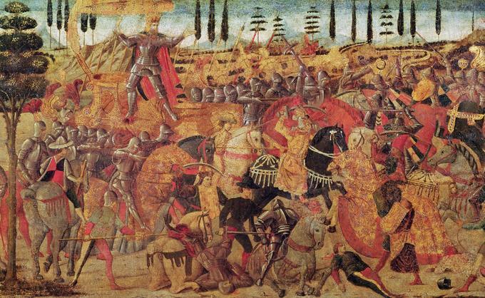 Huile sur panneau du XVe siècle figurant une bataille entre le roi perse Darius (336-330 avant notre ère) sur son char et le roi de Macédoine Alexandre le Grand.